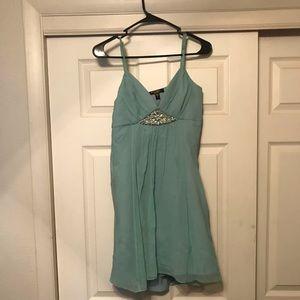 Short Light Blue Spaghetti astral Evening Dress
